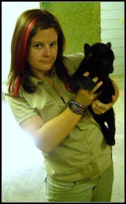 Me & black jaguar cub in my Zoo days